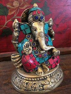 Vintage Intricate hand sculpture sitting Ganesha Ganesha with colored stone inlay, Statue, Colorful Brass Ganesh Statue