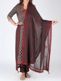 Buy Maroon Red Embroidered Cotton Gauze Dupatta Dupattas Woven Online at Jaypore.com