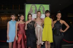 """(L-R) Actresses Sami Gayle, Sarah Hyland, Zoey Deutch, Lucy Fry, Olga Kurylenko and Dominique Tipper arrive at The Weinstein Company's premiere of """"Vampire Academy"""" at Regal 14 at L.A. Live Downtown on February 4, 2014 in Los Angeles, California."""