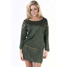 Green Sequinned Shoulder Detail Belted Dress