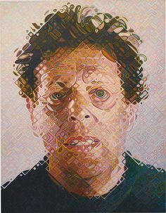 """""""Arguably the greatest painter alive, Chuck Close presents amazing new work at The Pace Gallery in New York. His ability to calculate color is super-human and his perseverance in the face of dyslexia, prosopagnosia"""" Chuck Close Portraits, Art History, Oil On Canvas, Painting Canvas, My Idol, Fine Art, Gallery, Philip Glass, Paintings"""