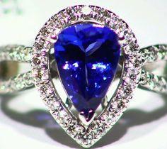 NEW 2.94CT 14KT GOLD NATURAL AAA TANZANITE WHITE DIAMOND HALO ENGAGEMENT RING  #Handmade #Cocktail