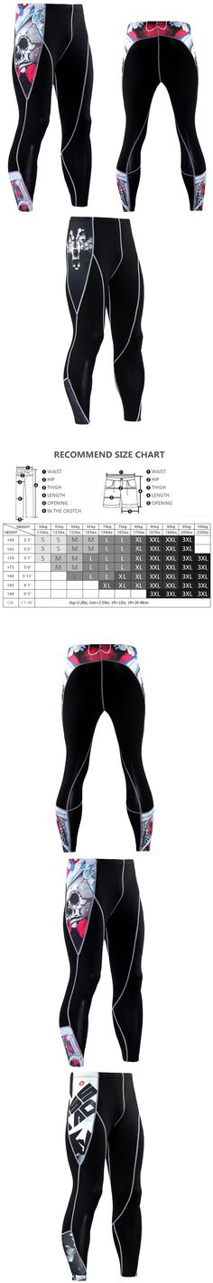 New Arrival Mens Crossfit Compression Pants Spandex Tights Joggers MMA Leggings Skull 3D Print Quick Dry Skinny Trousers Male