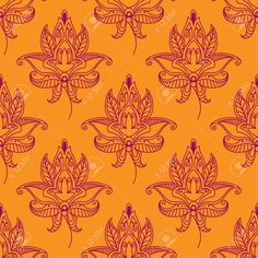 Pink Colored Paisley Seamless Floral Pattern In Persian Style ...