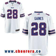 033acd02d Men s Buffalo Bills  28 E. J. Gaines White Road Stitched NFL Nike Elite  Jersey Bills Football