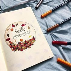15 November Bullet Journal Cover And Layout Inspiration THE BEST fall bullet journal inspiration. I'm so glad that I found this GREAT list of fall bullet journal ideas! I'm feeling so inspired! Bullet Journal Cover Ideas, Bullet Journal Month, Bullet Journal Themes, Bullet Journal Spread, Bullet Journal Layout, Journal Covers, Bullet Journal Inspiration, Journal Pages, Journal Ideas