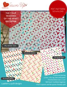 Quilt pattern: The four seasons of the heart - beginner quilt