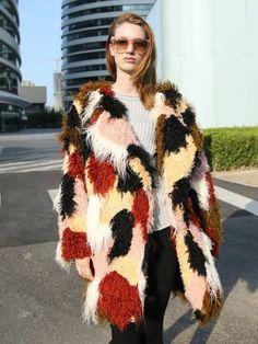 Shop Color Block Lapel Shaggy Faux Fur Coat from choies.com .Free shipping Worldwide.$120.59
