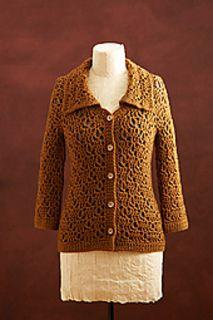 Crocheted jacket by Doris Chan, free pattern, aran