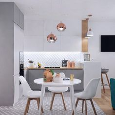 A very modern nordic kitchen in white and gray colors. White upper cabinets, and. Modern Kitchen Interiors, Dining Room Design, Kitchen Decor Apartment, Modern Kitchen, Home Decor Kitchen, Kitchen Room Design, Kitchen Interior, Interior Design Kitchen, Dining Room Small