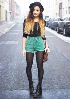 Grunge | Black Medium-Sleeve Shirt, High Waist Green Denim Shorts, See-Through Stockings, and Boots.