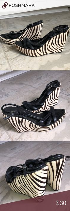 """Sam Edelman Wedge Heels Sam Edelman Women's Zebra Hair Print Wedges Heels Sandals Size 8 M  •heel height: 4.5"""" •I'm so in love with these-got a size too small so letting someone else have these & I've ordered a size up! •THE PERFECT shoe to instantly make you full of Sexiness, sassy-ness, and Confidence! Throw these on for a night out on the town, a bachelorette trip, date night, engagement parties and events, dancing, & more!  •sexy leather straps across foot •NEW CONDITION! NEVER WORN…"""