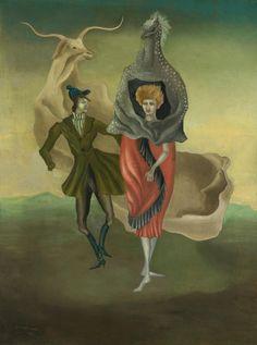 Leonora Carrington (Mexican, born England, 1917-2011), Personajes de teatro [Theatre People], 1941. Oil on canvas, 61 x 45.5 cm.