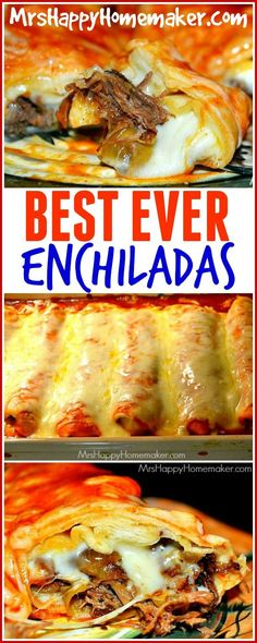 BEST EVER Enchiladas - with your crockpot's help!! These are AMAZING!! Every time I make them for company, they rave & request them each time they come back! - http://MrsHappyHomemaker.com