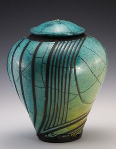 azul cerámica raku jarrón con tapa jlw