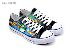 Angry Birds Hand Painted Low-top Canvas Sneakers