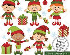 Christmas clipart Santa and Friends Clip art di pixelpaperprints