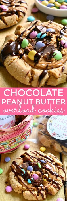 65234440d0c These Chocolate Peanut Butter Overload Cookies are so cute for spring and I  love the personalized stickers for gifting!