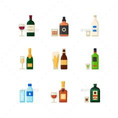 Vector Flat Drink Icon Set