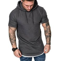 Men's Fashion Slim Fit Hooded Hoodie Short Sleeve Casual T-Shirt Tops Plain New Hoodies For Sale, Men's Hoodies, Short Sleeve Hoodie, Muscle Shirts, Casual T Shirts, Mens Sweatshirts, Sleeves, Men's Fashion, Fashion Accessories