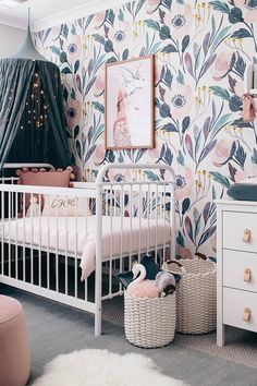 Inspiration from Instagram -Tarina Lyell @oh.eight.oh.nine - pastel girls room ideas, pink and grey girls room design, kidsroom decor, girls kidsroom, powder, nursery