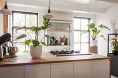 The kitchen cabinets are from IKEA. Jan made the countertop himself from old oak floor boards.