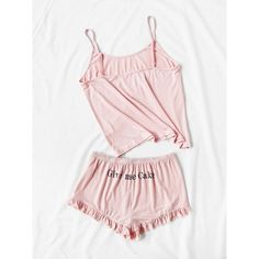Letter Print Cami And Ruffle Shorts Pajama Set ❤ liked on Polyvore featuring intimates, sleepwear, pajamas, ruffle cami and camisole sleepwear