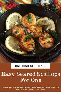 Learn how easy it is to make a few pan seared scallops with a golden crust and melt-in-your-mouth texture. An elegant dish yet so easy to make! Perfect for a special occasion or any day of the week. Ready in minutes! | One Dish Kitchen - The Number One Source For Single Serving Recipes Kitchen Dishes, Kitchen Recipes, Food Dishes, Microwave Recipes, Main Dishes, Cooking Recipes, Cooking For One, Batch Cooking, One Person Meals