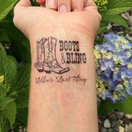Boots and Bling Bachelorette Party Temporary Tattoo