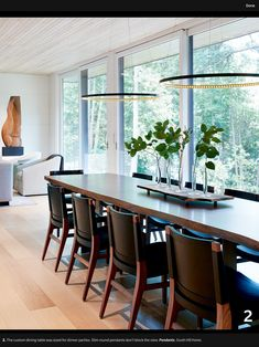 This tranquil lake house designed by Sloan Mauran is filled with sunlit rooms, quiet corners and the most breathtaking lush views. Elegant Dining Room, Beautiful Dining Rooms, Beautiful Homes, Dining Room Hutch, Dining Room Design, Dining Chairs, Home Design, Design Ideas, Lights Over Dining Table