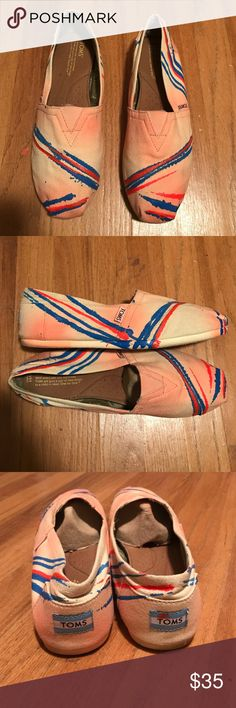 TOMS Canvas Slip On Artist Bright orange and blue! Worn a few times. Excellent condition! Size 10 TOMS Shoes Flats & Loafers