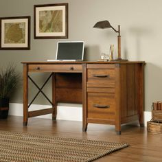 """Computer Desk - Washington Cherry Finish by Sauder. $189.98. Features Three drawers with metal runners and safety stops. Lower drawer holds letter-size hanging files. Wrought iron style hardware and accents. Quick and easy assembly with patented T-slot drawer system. Washington Cherry finish.     Dimensions W:53 1/4"""" (135.1cm) D:22 5/8"""" (57.5cm) H:29 3/4"""" (75.7cm). Comes ready to assemble. Please contact Target Decor and More for free color sample."""