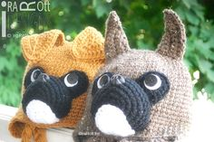 Handmade Crochet Boxer Puppy Dog Animal Hat for boys and girls of all ages