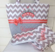 XL Quilted / Applique Chevron / Zig Zag Diaper Bag by MsSewItAll32, $80.00