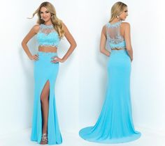 New Sexy Prom Dresses 2015 Applique Crystal Beaded Sheath Crew Formal Long Side Slit Blue Two-Piece Evening Party Gowns, $133.91 | DHgate.com