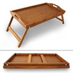 Bamboo Folding Breakfast Lap Tray Wood Over Bed Table Stand Kitchen Wooden New…