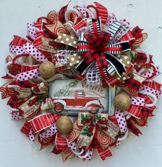 Christmas Wreath, Red Truck Wreath, Rustic Wreath, Snow Wreath Rustic Christmas Ornaments, Christmas Mesh Wreaths, Deco Mesh Wreaths, Christmas Holidays, Christmas Decorations, Holiday Decor, Door Wreaths, Diy Wreath, Wreath Ideas