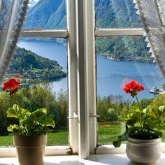 View towards the Hardangerfjord from Ulvik in Hardanger, Hordaland, Norway.