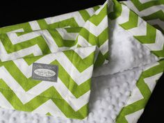 Baby Blanket  Lime Green Zigzag with White minky by GiggleSixBaby, $36.00 I could do this :)