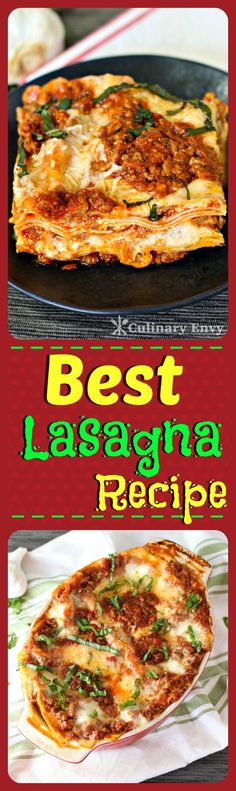 This Best Lasagna Recipe has taken YEARS to perfect!  It is ridiculously rich, meaty, gooey, cheesy and makes the perfect comfort food! Click to read more or pin & save for later!