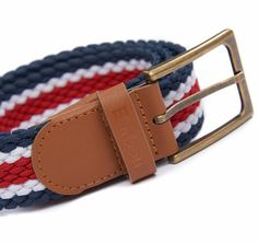Woven to a tri-colour striped design for a classic preppy look, this belt is trimmed in rich leather with a brushed nickel buckle, making it the perfect finishing touch for any casual look.