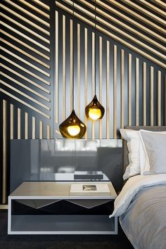 Strips of timber have been laid out in linear form on the wall giving this bedroom a luxuriously opulent and modern feel. De Waterkant Apartment by AA Interiors and OKHA Interiors - incredible wall treatment! Interior Walls, Interior And Exterior, Luxury Interior, Bedroom Goals, Wall Design, House Design, Design Design, Design Homes, Loft Design