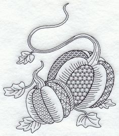 blackwork | This design features autumn pumpkins in a one-color blackwork style.