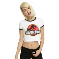 Hot Topic Jurassic Park Girl Ringer Crop Top ($20) ❤ liked on Polyvore featuring tops, white top, logo top, cut-out crop tops, white crop top and ripped tops