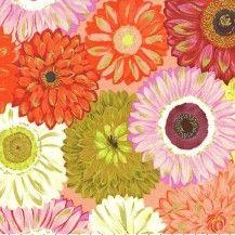 Valencia Dahlia Mix Quilting Fabric - Orange