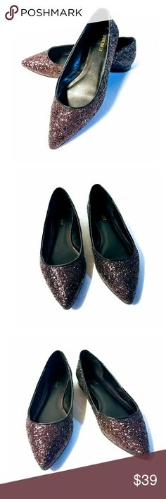 """Nine West 'Oleena' Glittery Flats Gorgeous 'Oleena' pointed toe flats by Nine West. Size 9. Condition is like new. These shoes have only been tried on. Never worn. Color is a burgundy and fades to black. Heel .25"""". Fit true to size. Nine West Shoes Flats & Loafers"""