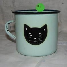 Vintage Graniteware, Enamelware,Blue Mug with Black Cat Face - 1 $35.00