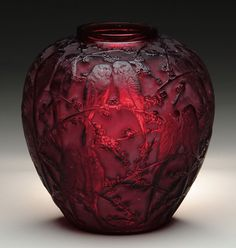 Glass Art, Perruches Vase - Provenance to Louis H. Chalif, Russian Ballet Master who came to United States,1904,founded Chalif Normal School of Dance in Manhattan; extremely rare and outstanding deep ruby red