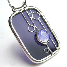 Stained glass with dichroic cabochon pendant | Flickr - Photo Sharing!