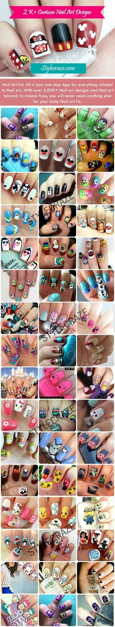 Image via Cartoon Nail Art Designs Image via Nail Art For All is your one stop App for everything related to Nail art. With over 20 K+ Nail art designs and Nail art tutorials to choose fr